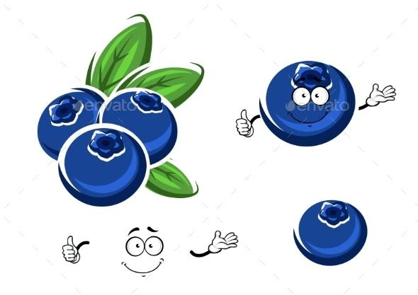 Cartoon Fresh Blueberry Fruits On White - Food Objects