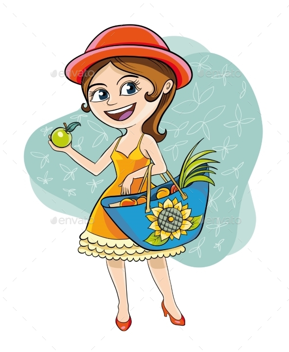 Woman With Apple - Food Objects
