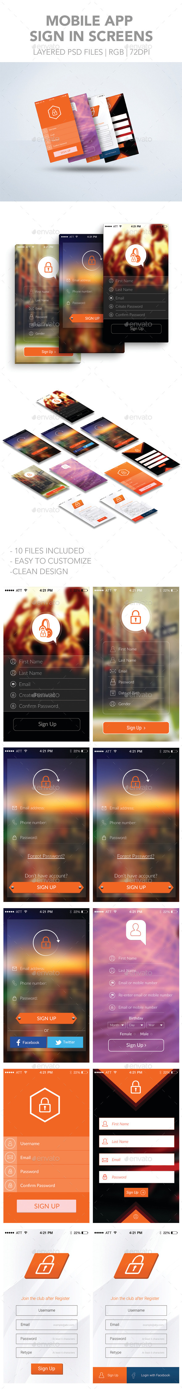 Mobile App Sign Up Screens - User Interfaces Web Elements