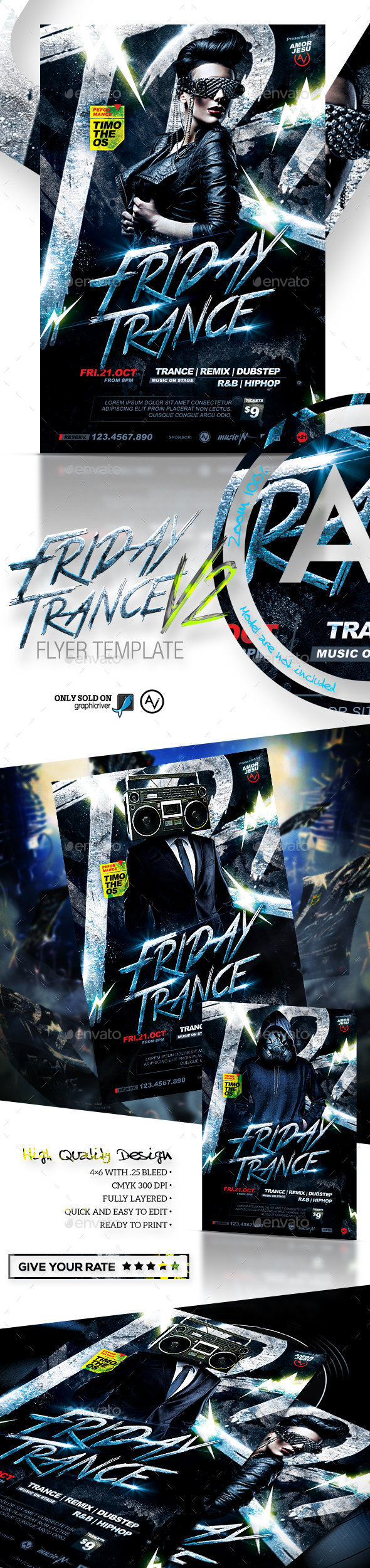 Friday Trance Flyer Template V2 - Clubs & Parties Events
