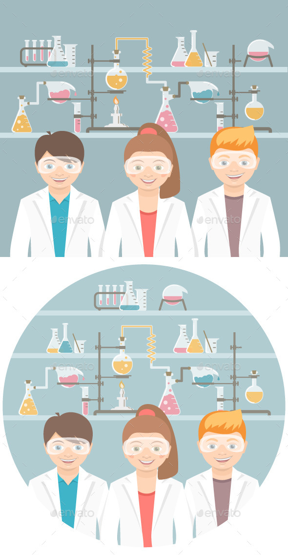 Kids in Chemistry Class Flat Education Concept  - People Characters