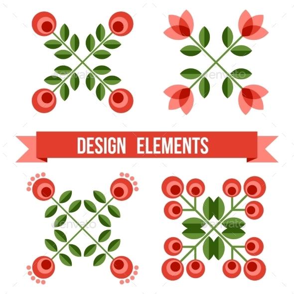 Set Of Design Elements - Retro Flowers - Flowers & Plants Nature