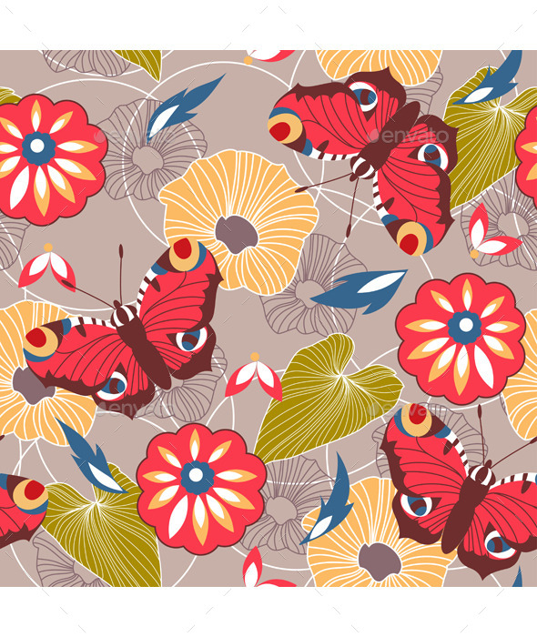 Seamless Background With Butterflies and Flowers - Patterns Decorative