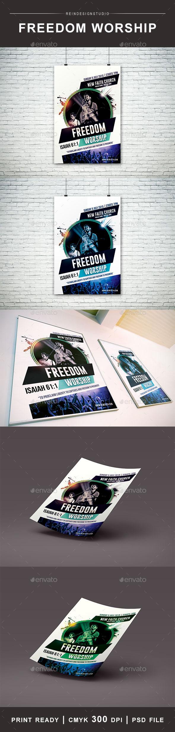 Freedom Worship Church Flyer - Church Flyers