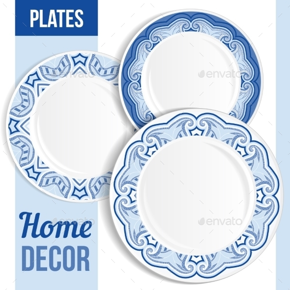 Set Of Decorative Plates. - Borders Decorative