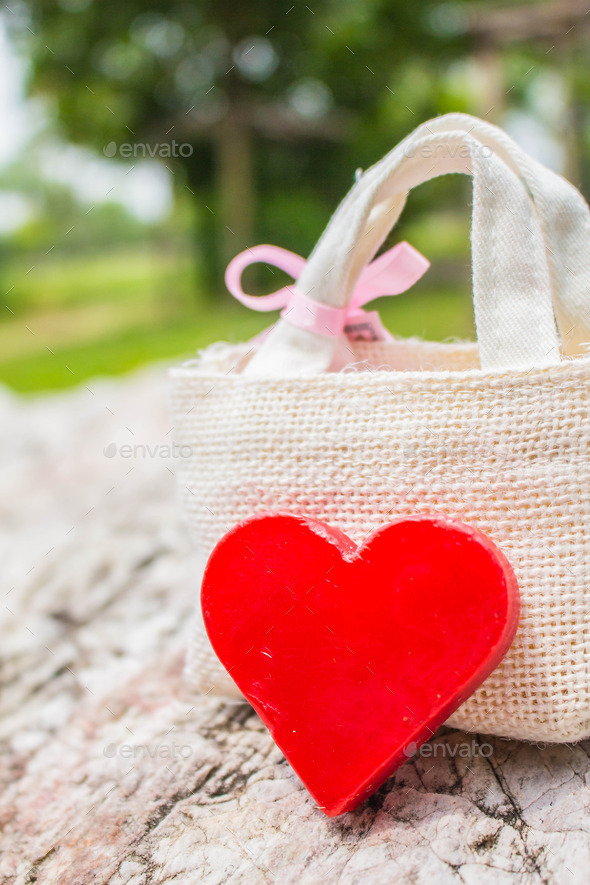 Heart and gift on the background - Stock Photo - Images