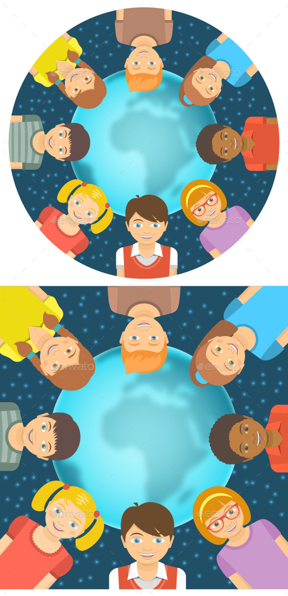 Kids of Different Races around Earth Flat Concept - People Characters