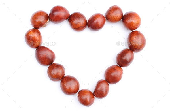 Heart of chestnut on white background - Stock Photo - Images