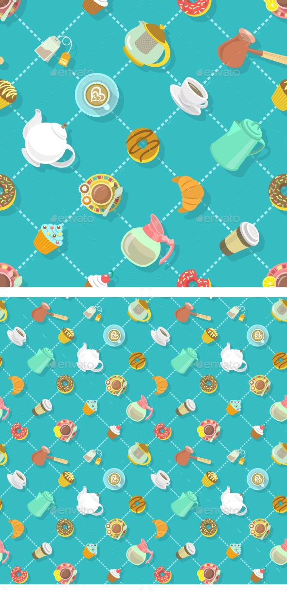 City Cafe Coffee and Tea Flat Seamless Pattern - Patterns Decorative