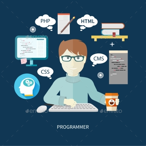 Programmer On Workplace - Computers Technology
