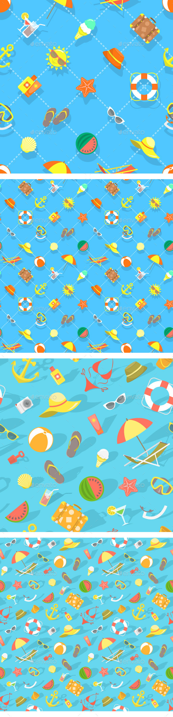 Summer Vacation Beach Icons Flat Seamless Pattern - Patterns Decorative