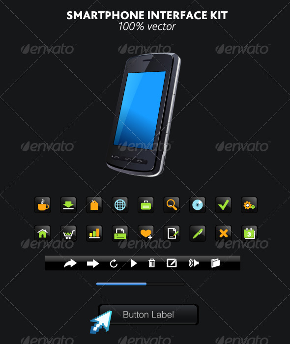 smartphone and interface elements - Technology Conceptual