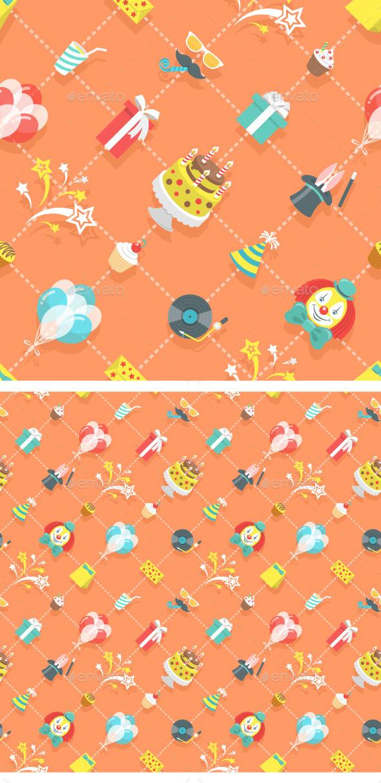Flat Birthday Party Celebration Seamless Pattern - Patterns Decorative