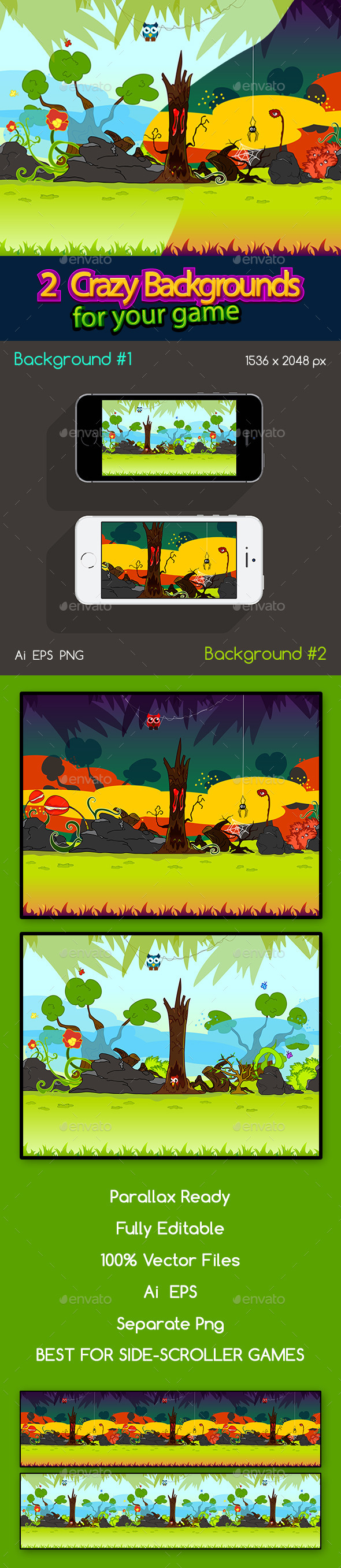 2 Crazy Background Set Day and Night - Backgrounds Game Assets