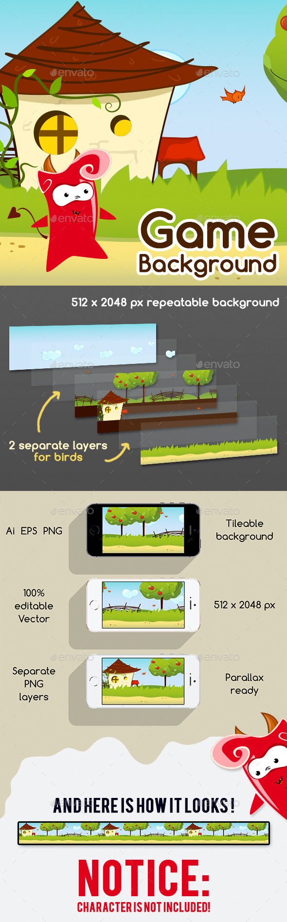 Game Background with Parallax Effect - Backgrounds Game Assets