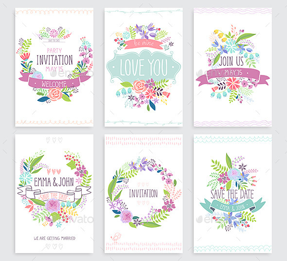 Romantic Floral Hand Drawn Card Set.  - Flourishes / Swirls Decorative