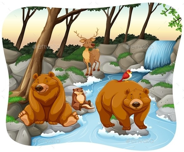 Waterfall - Animals Characters