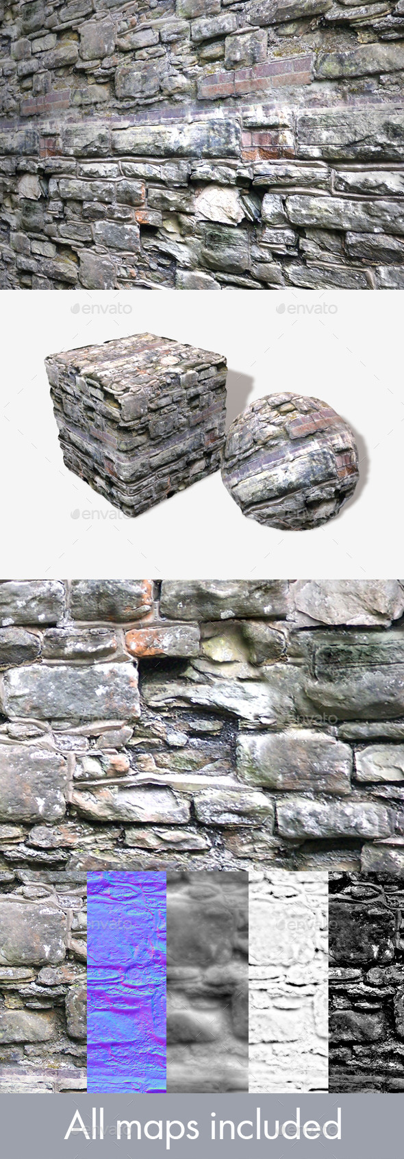 Crumbling Random Wall Seamless Texture - 3DOcean Item for Sale