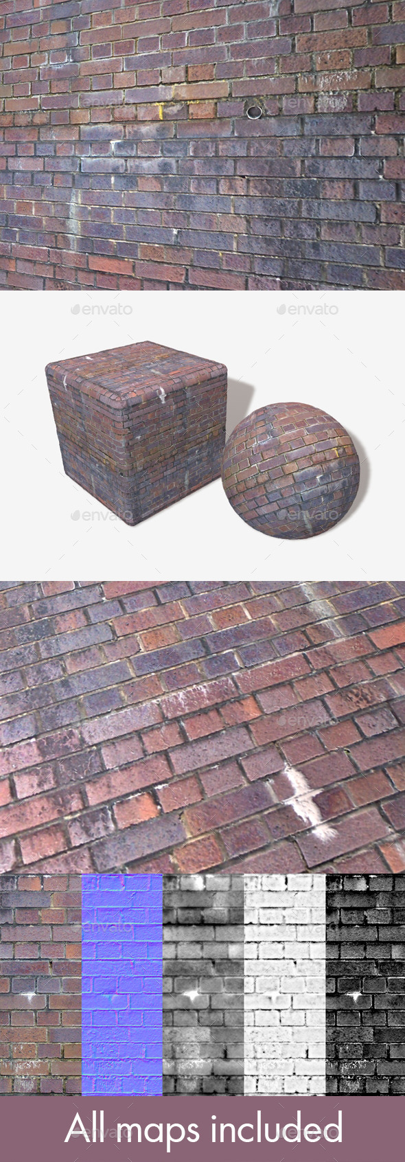 Dirty Purple Bricks Seamless Texture. - 3DOcean Item for Sale