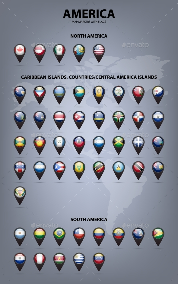 Map Markers With Flags - America. Original Colors - Web Elements Vectors