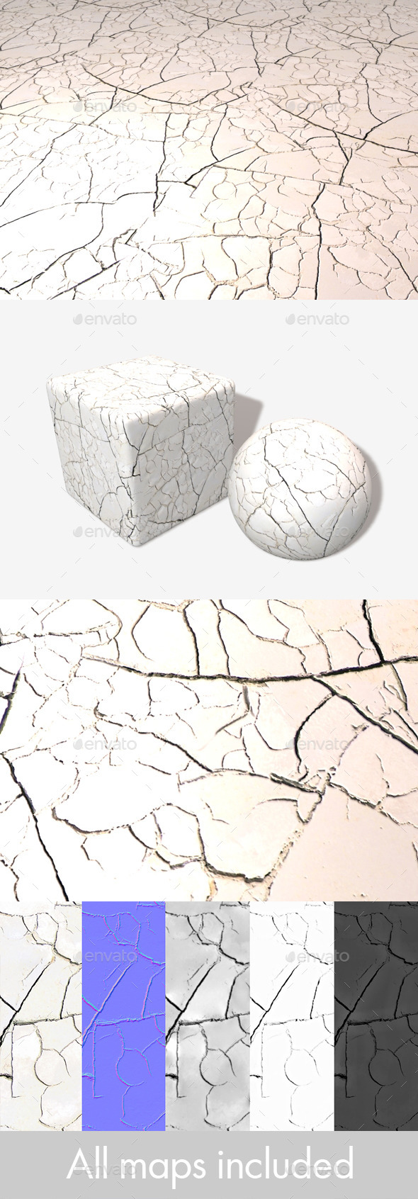 White Cracked Desert Seamless Texture - 3DOcean Item for Sale