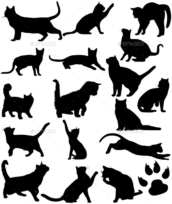 Cats Silhouettes - Animals Characters