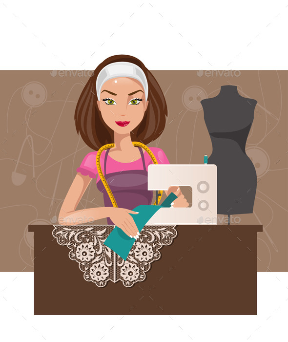 Dressmaker Woman - People Characters