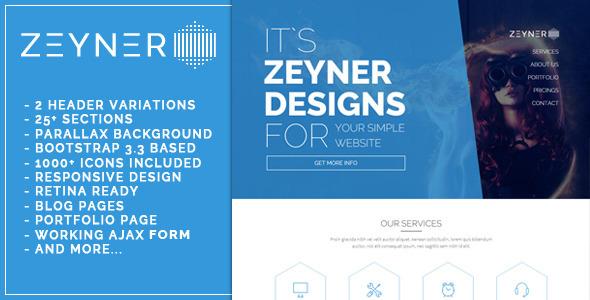 Zeyner – Responsive Landing Page Template