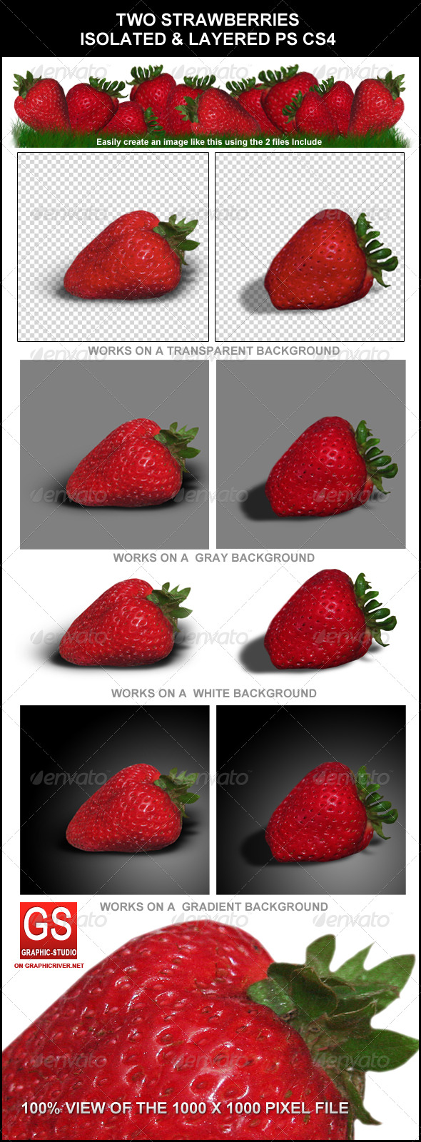 Strawberry Fruits (2 different Versions + Bonus) - Food & Drink Isolated Objects