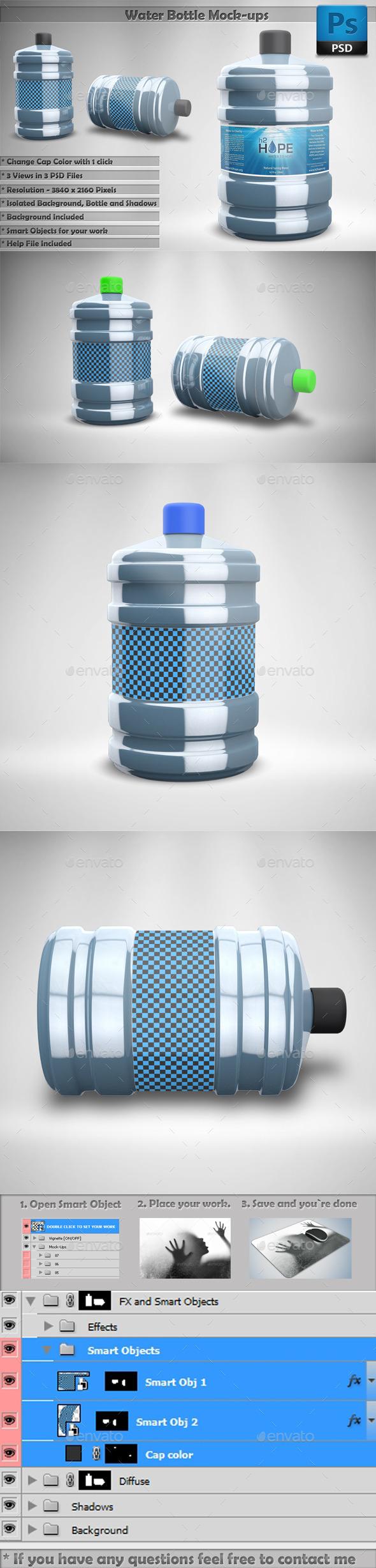 Water Bottle Mockups - Food and Drink Packaging