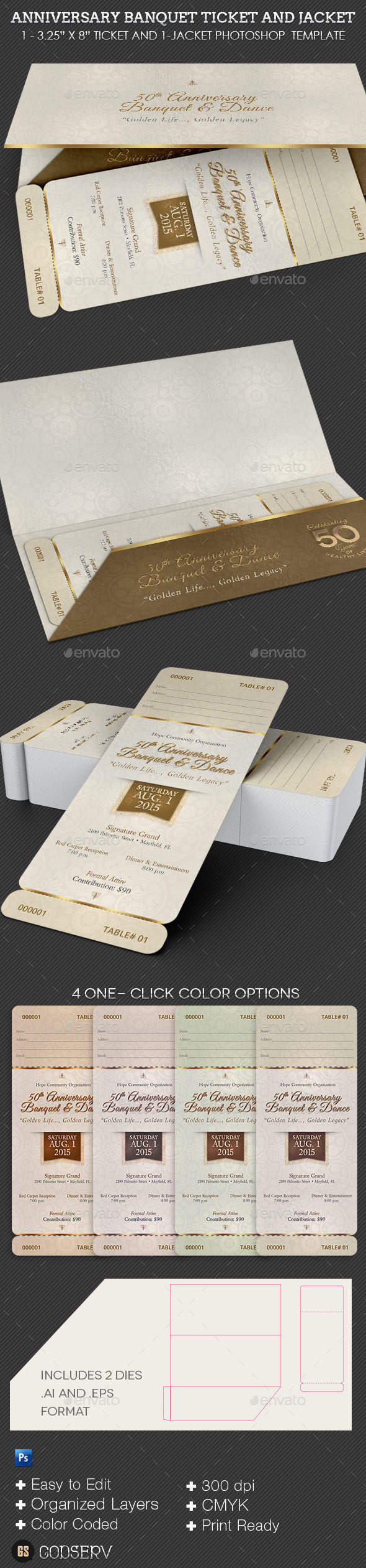 Anniversary Banquet Ticket Plus Jacket Template - Miscellaneous Print Templates
