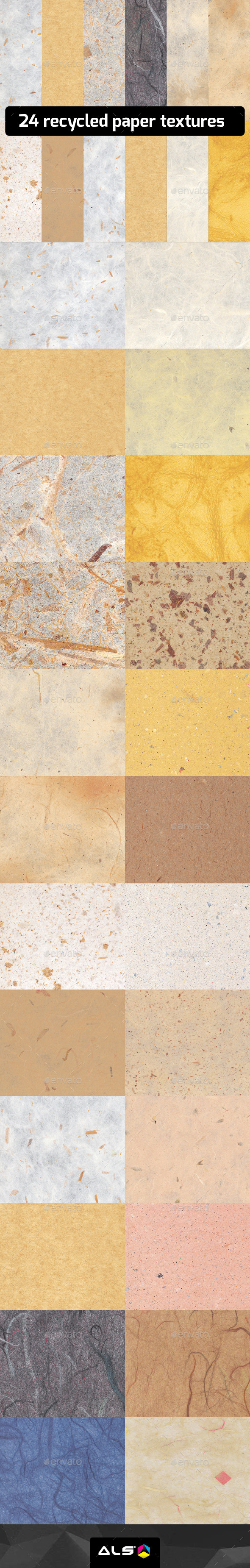 24 Recycled paper textures - Backgrounds Graphics