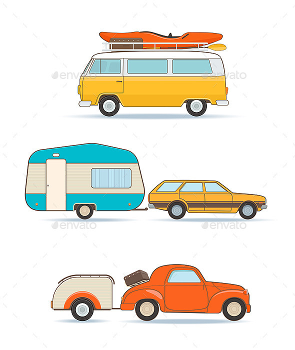 Vintage Caravans and Cars  - Man-made Objects Objects