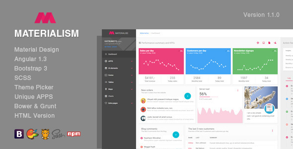 Materialism – Angular Bootstrap Admin Template