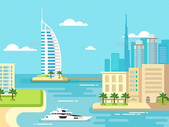 Dubai City Beach Skyline - Travel Conceptual