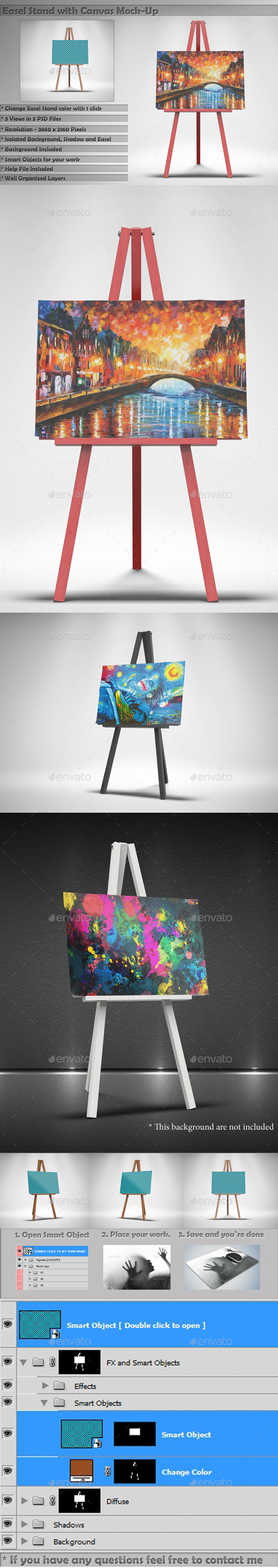 Easel Stand with Canvas Mockups - Print Product Mock-Ups