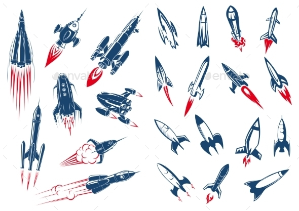 Space Rocket Ships and Military Missiles - Man-made Objects Objects