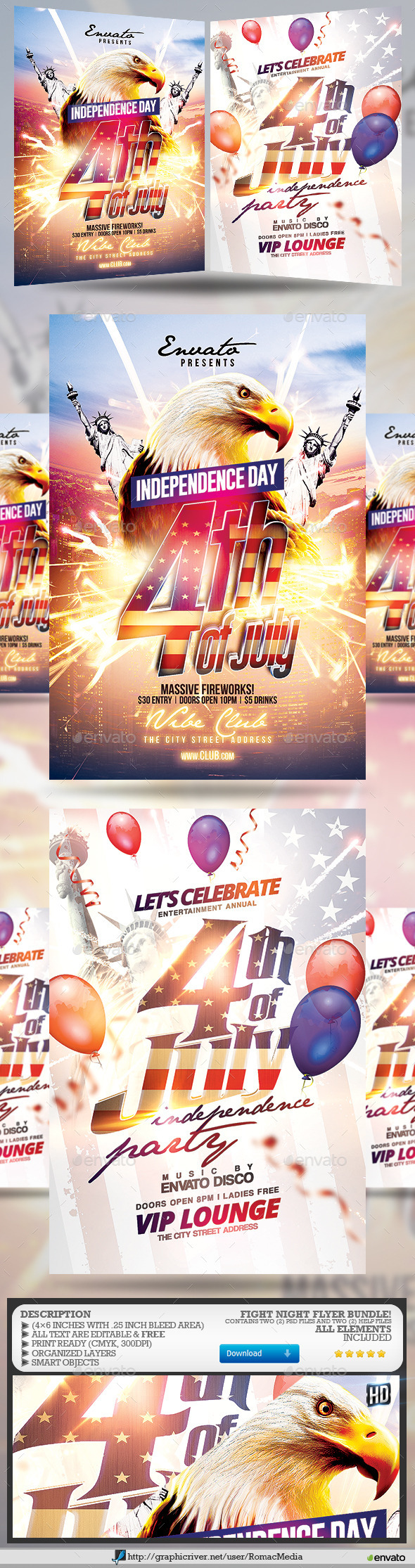 4th of July Party Flyer Bundle - Events Flyers