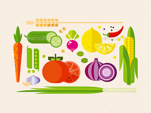 Vegetables in Flat Style - Food Objects