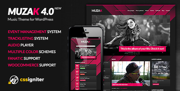 Muzak – Music WordPress theme