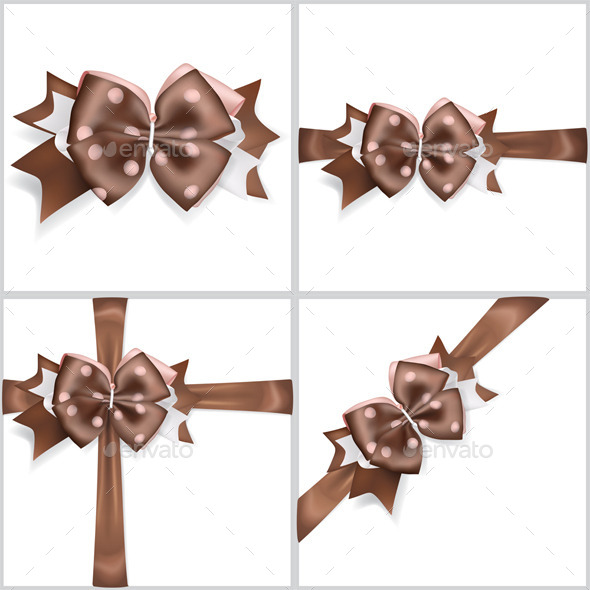 Brown Bows Made of Ribbons - Decorative Symbols Decorative