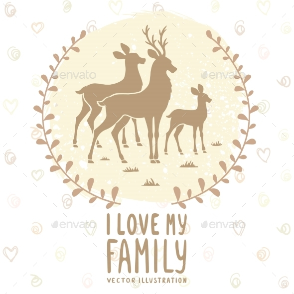 Deer Family Card - Animals Characters