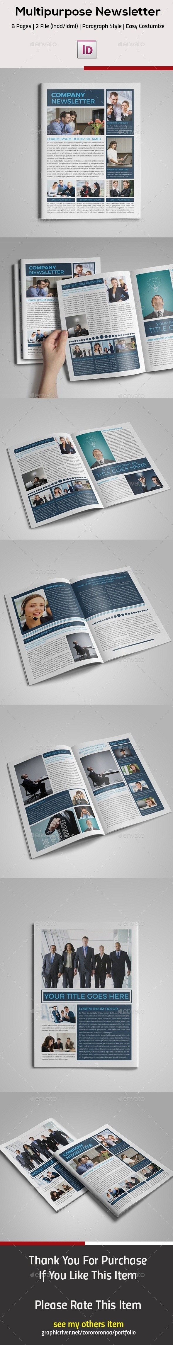 Multipurpose InDesign Newsletter - Newsletters Print Templates