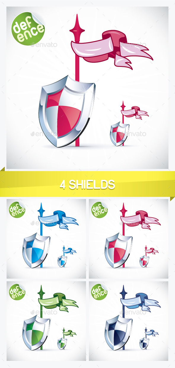 Four Shield Illustrations - Miscellaneous Conceptual