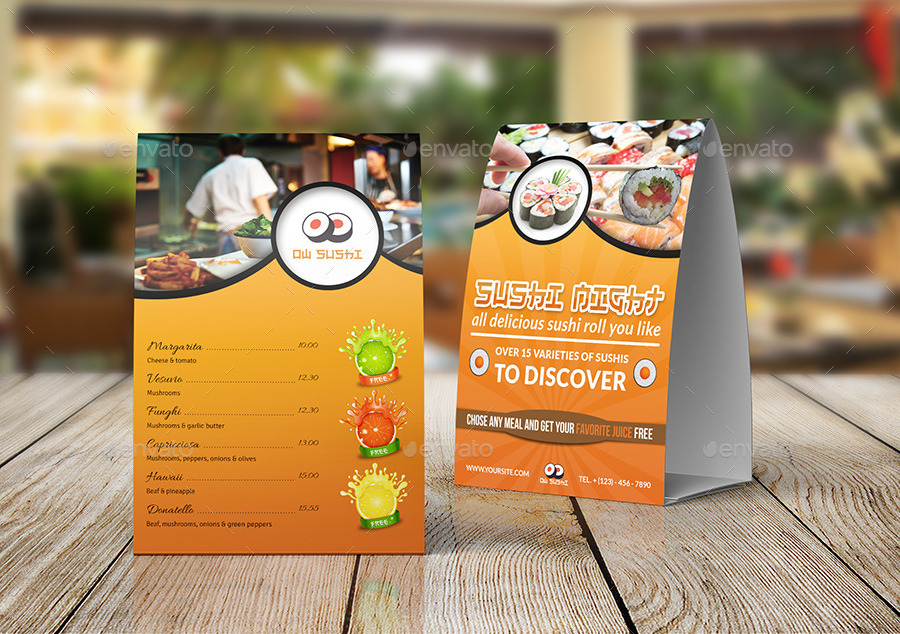 Sushi Restaurant Table Tent Template By OWPictures GraphicRiver - Restaurant table tent template