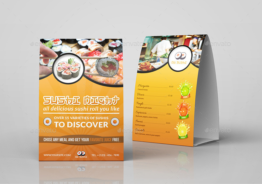 Sushi Restaurant Table Tent Template  sc 1 st  GraphicRiver & Sushi Restaurant Table Tent Template by OWPictures | GraphicRiver
