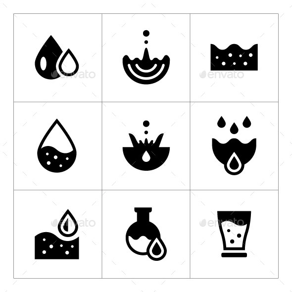 Set Icons of Water - Abstract Icons