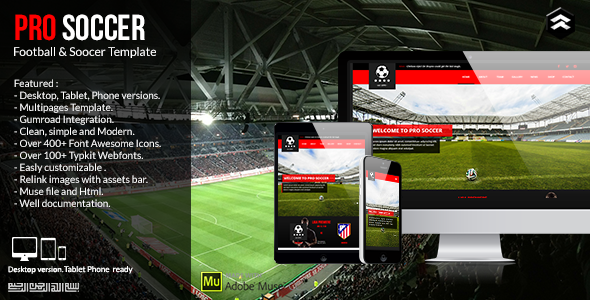 Pro Soccer – Football & Soccer Club Muse Template