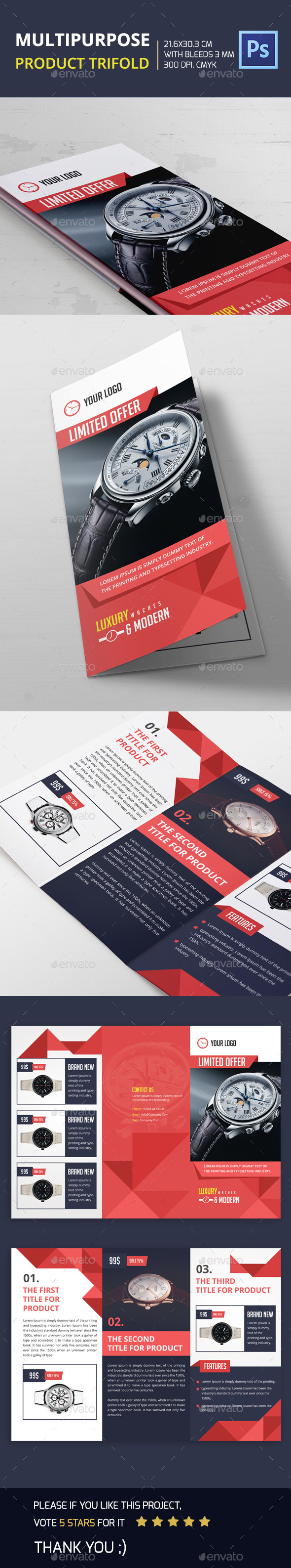 Multipurpose Product Trifold - Brochures Print Templates