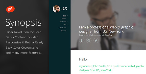 Synopsis – Resume/CV and Portfolio Theme